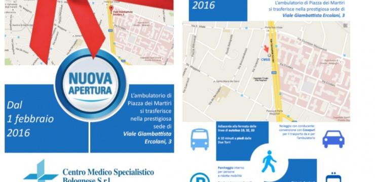 1 febbraio 2016 apertura nuova sede a Bologna